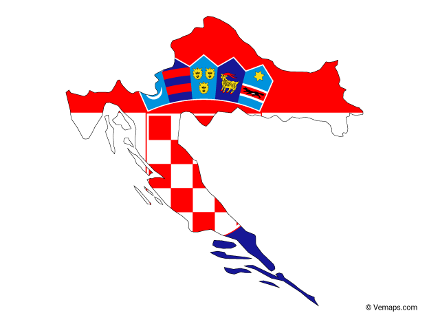 Flag Map of Croatia