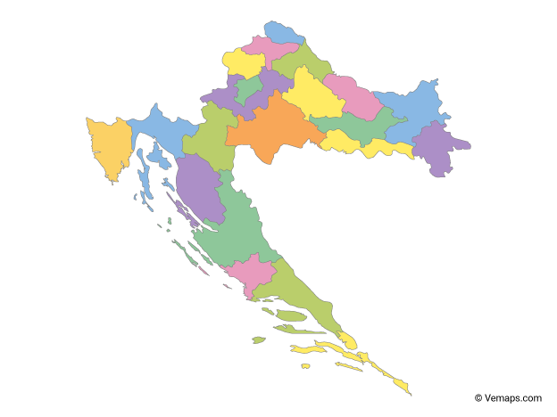 Multicolor Map of Croatia with Counties