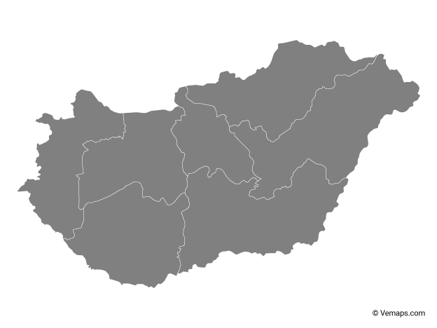 Grey Map of Hungary with Regions