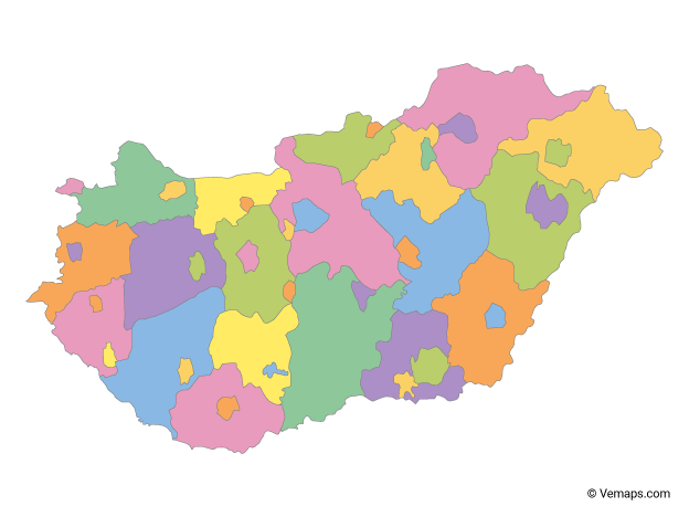Multicolor Map of Hungary with Regions