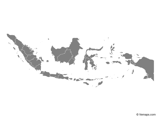 Grey Map of Indonesia with Provinces