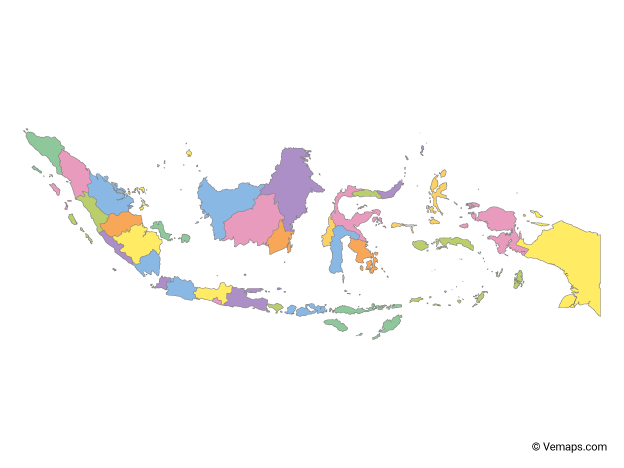 Multicolor Map of Indonesia with Provinces