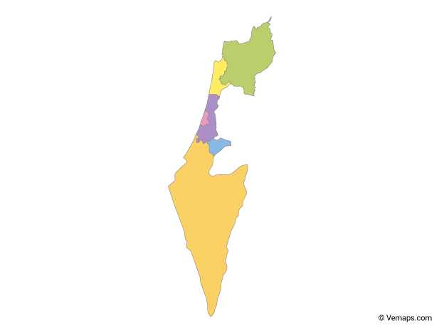 Multicolor Map of Israel with Districts