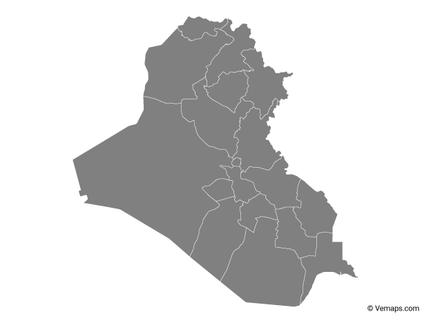 Grey Map of Iraq with Governorates