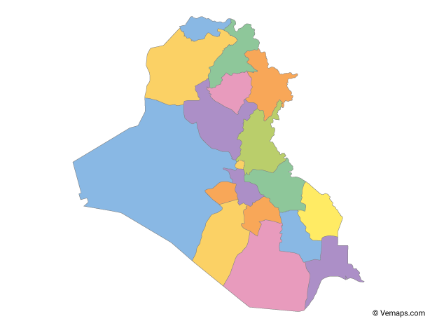 Multicolor Map of Iraq with Governorates