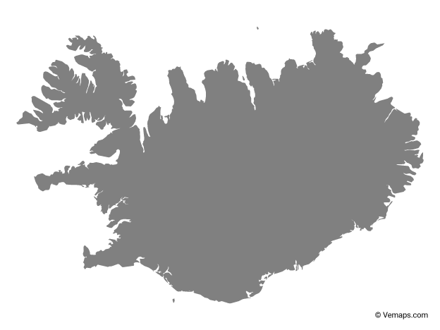 Grey Map of Iceland