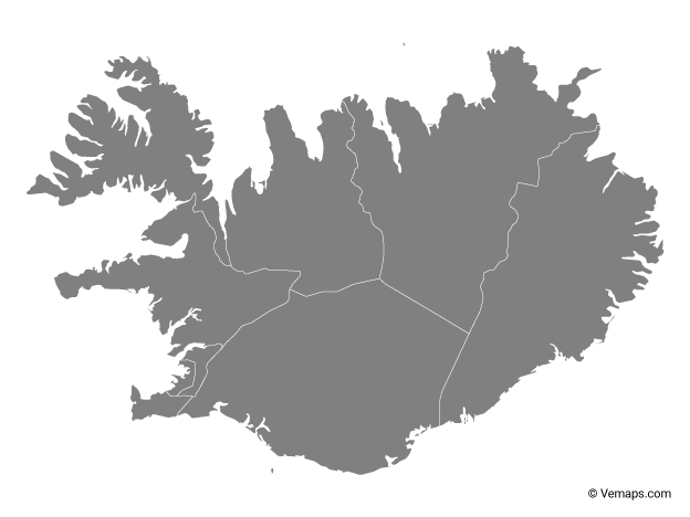 Grey Map of Iceland with Regions