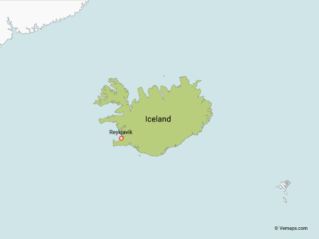 Map of Iceland with Neighbouring Countries