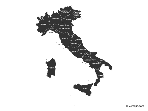 Black Map of Italy with Regions and Labels