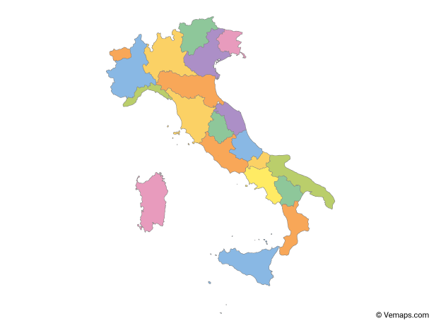 Multicolor Map of Italy with Regions