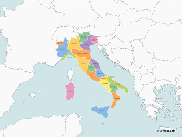Map of Italy with multicolor Regions, Neighbouring countries and Labels