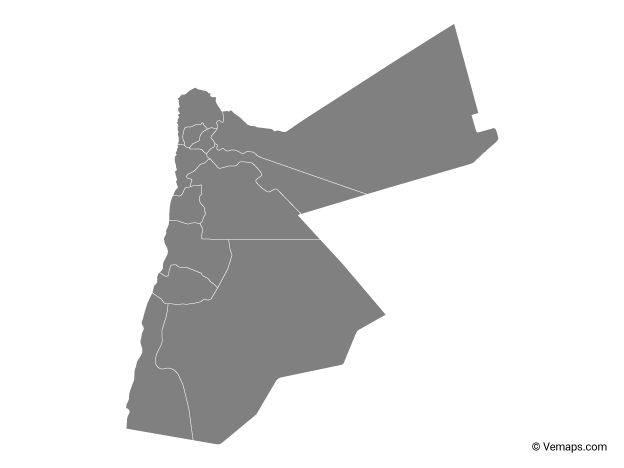 Grey Map of Jordan with Governorates
