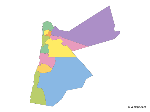 Multicolor Map of Jordan with Governorates