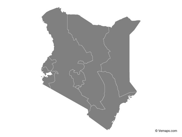 Grey Map of Kenya with Provinces
