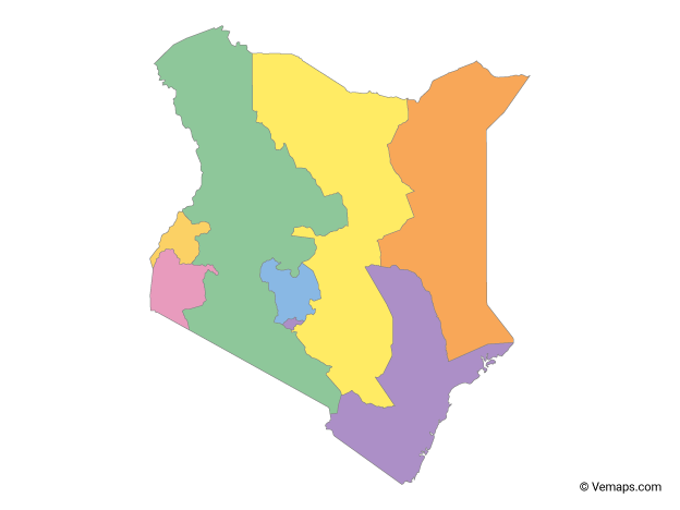 Multicolor Map of Kenya with Provinces