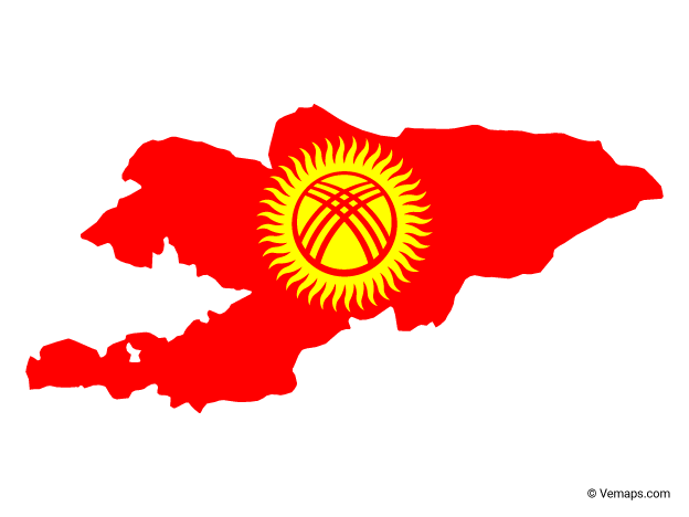 Flag Map of Kyrgyzstan