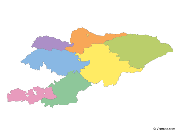 Multicolor Map of Kyrgyzstan with Regions