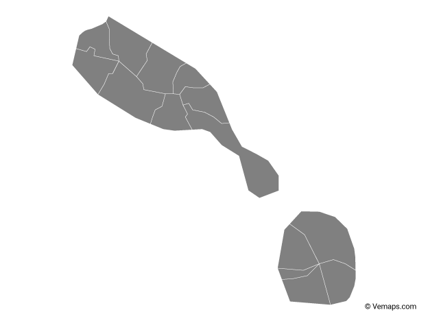 Grey Map of Saint Kitts and Nevis with Parishes