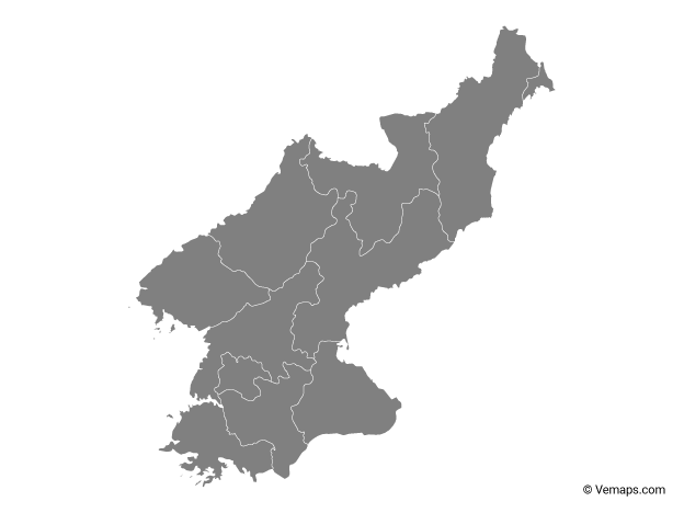 Grey Map of North Korea with Provinces