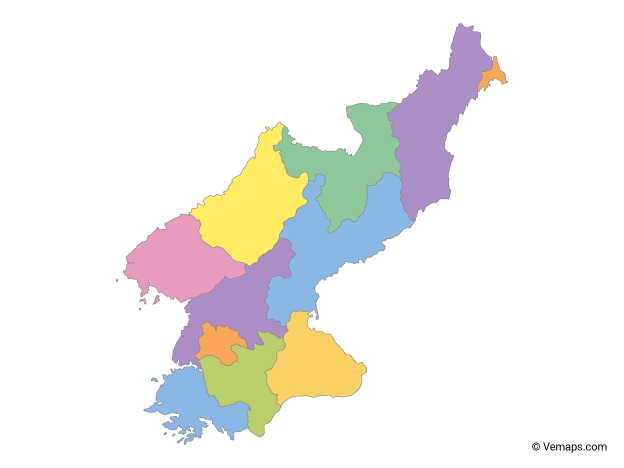 Multicolor Map of North Korea with Provinces