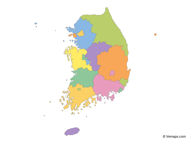 Multicolor Map of South Korea with Provinces