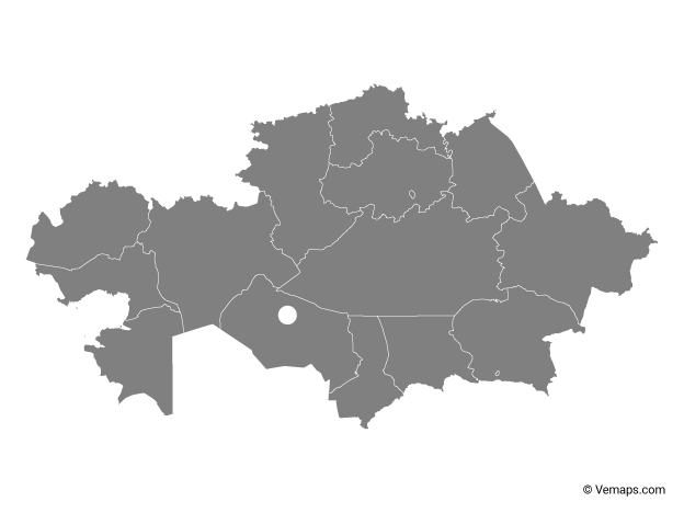 Grey Map of Kazakhstan with Regions