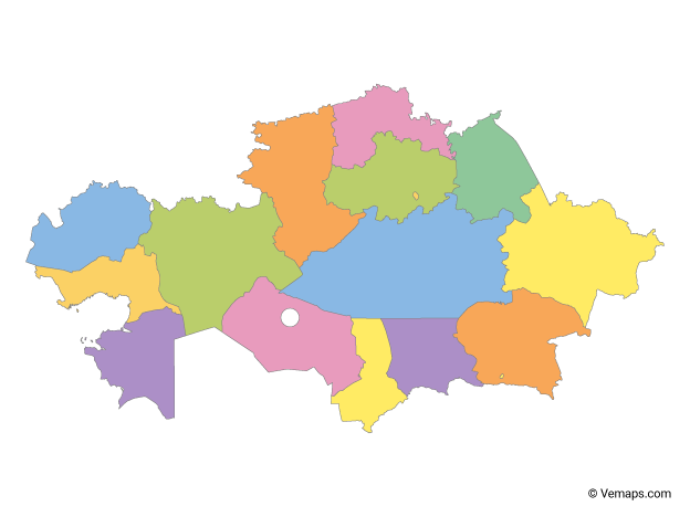 Multicolor Map of Kazakhstan with Regions