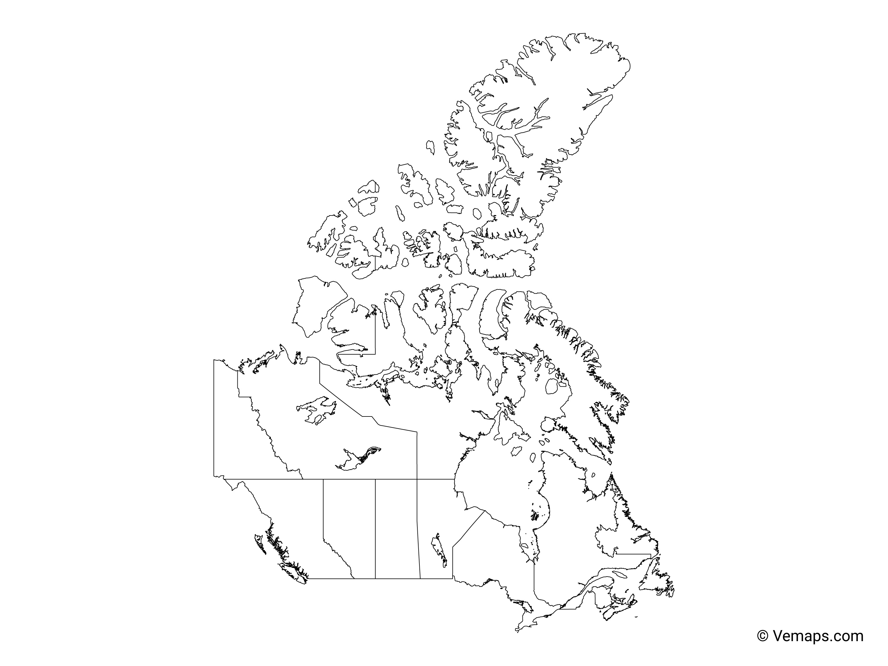 Outline Map Of Canada With Provinces.Outline Map Of Canada With Provinces And Territories Free Vector Maps