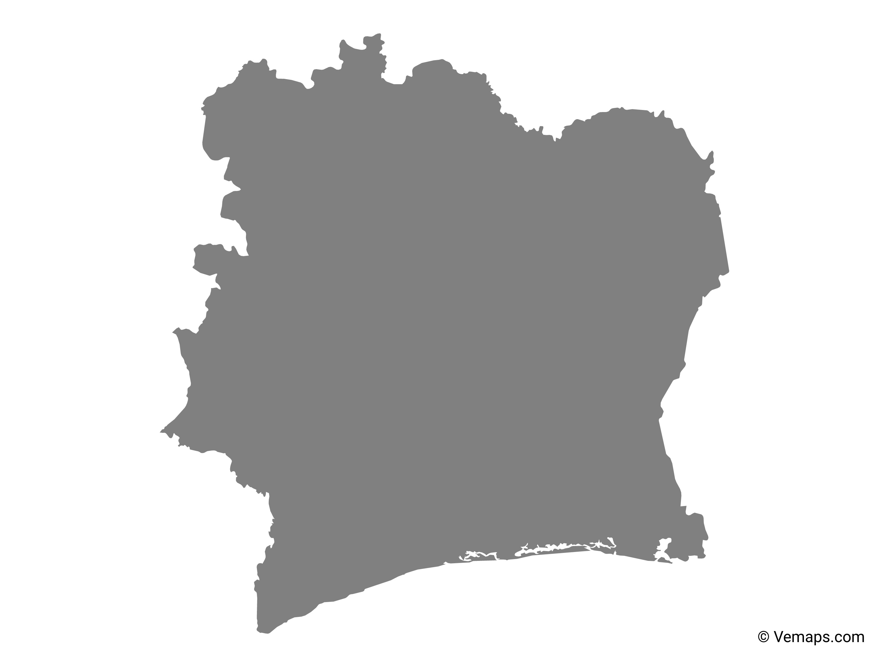 Grey Map Of Ivory Coast Free Vector Maps