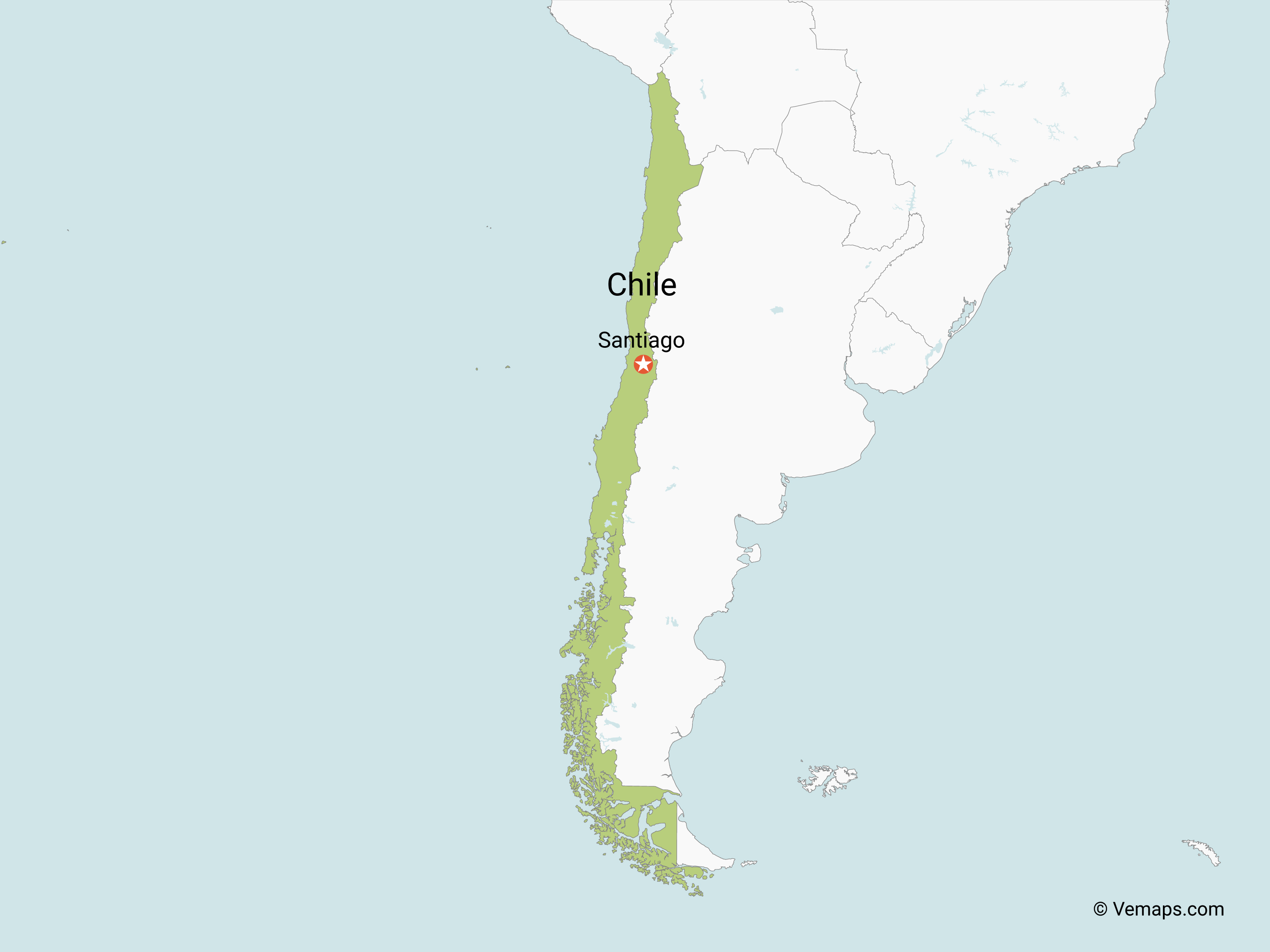 a map of chile Map Of Chile With Neighbouring Countries Free Vector Maps a map of chile