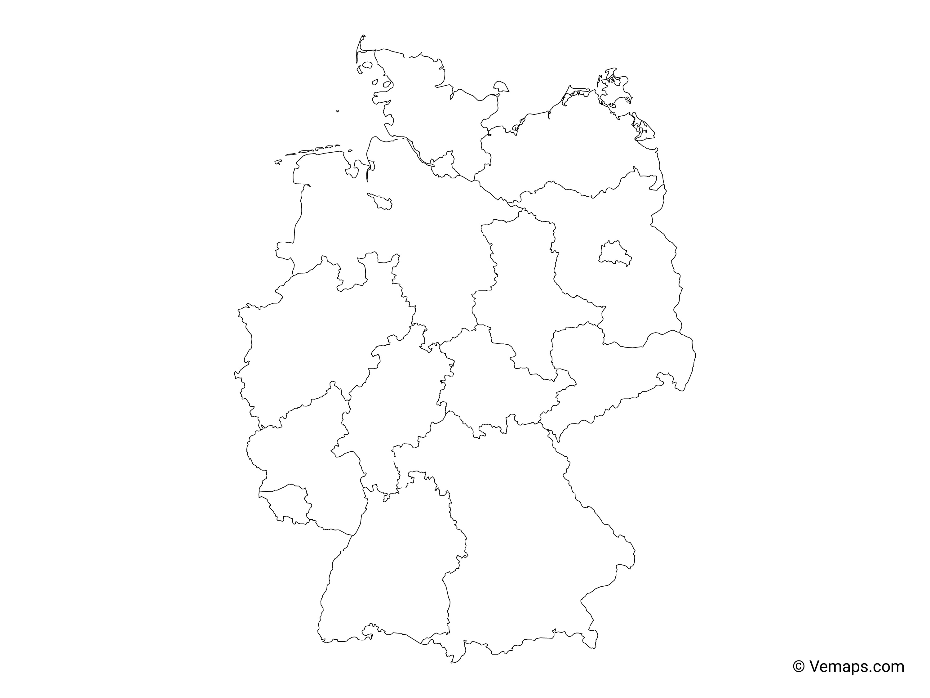 Outline Map Of Germany.Outline Map Of Germany With States Free Vector Maps