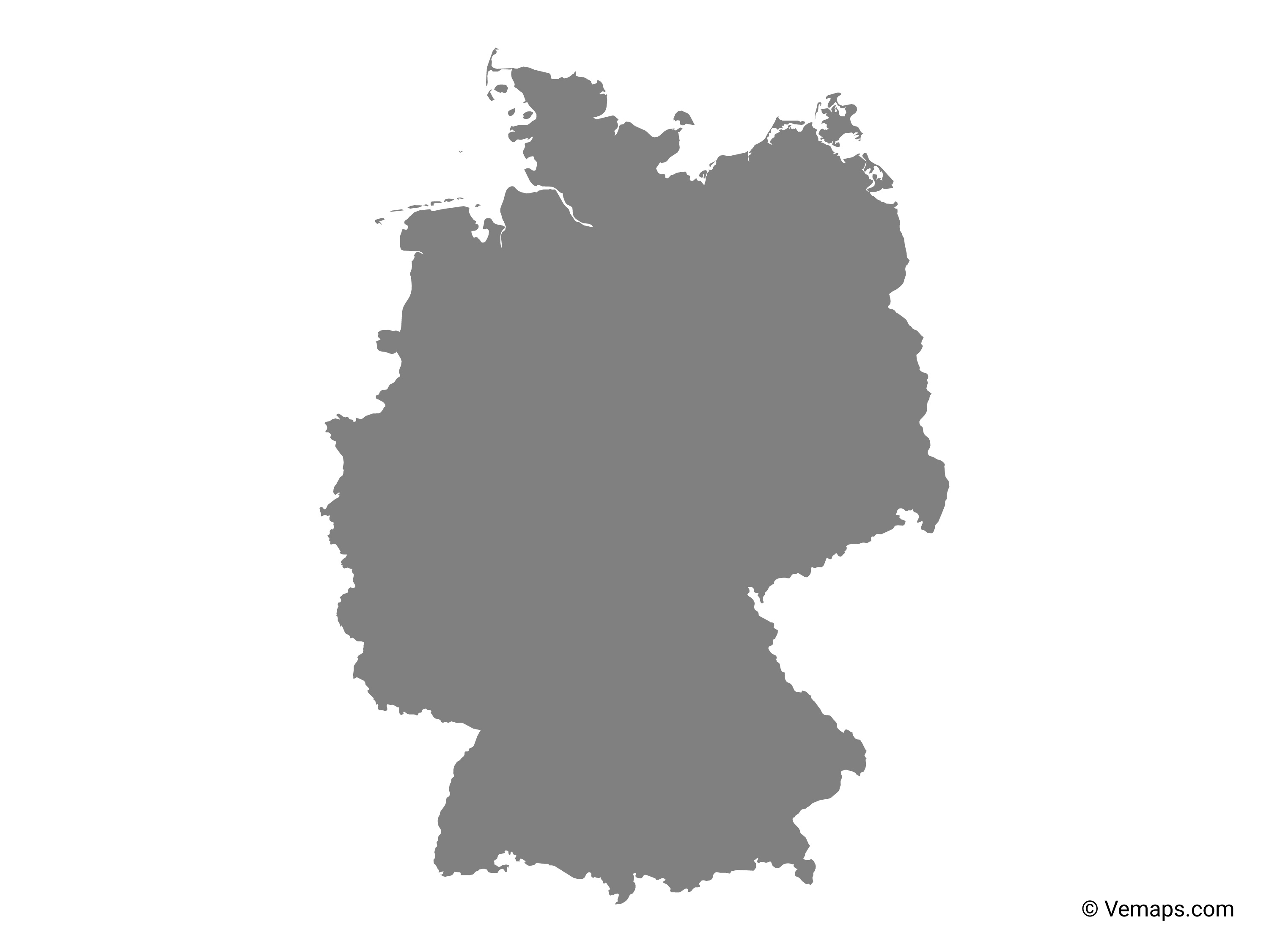 Pictures Of Germany Map.Grey Map Of Germany Free Vector Maps