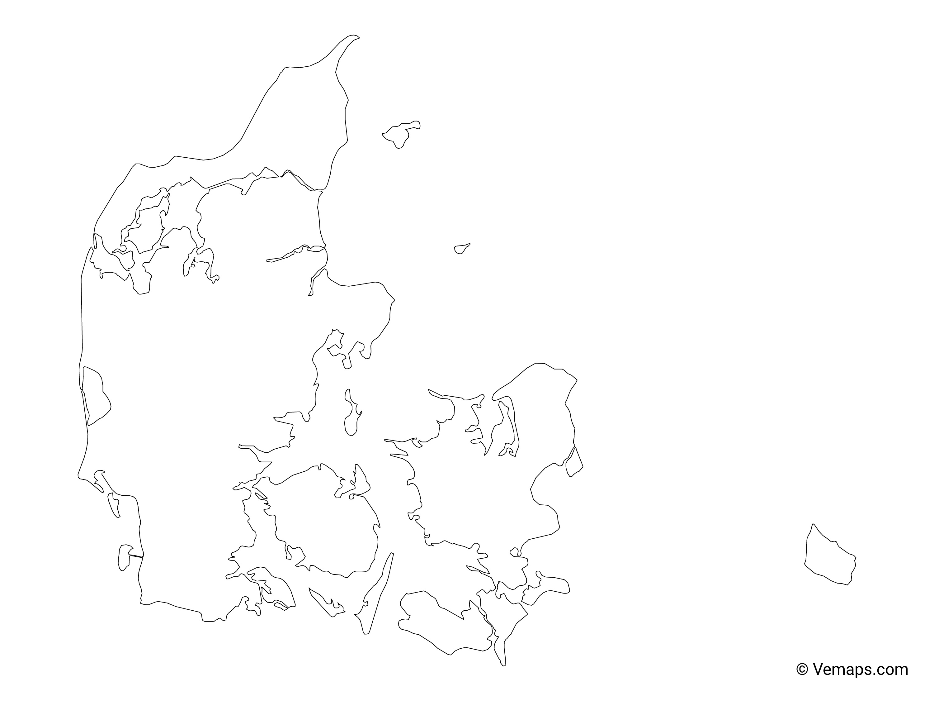 Image of: Outline Map Of Denmark Free Vector Maps