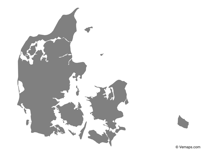 Grey Map of Denmark | Free Vector Maps