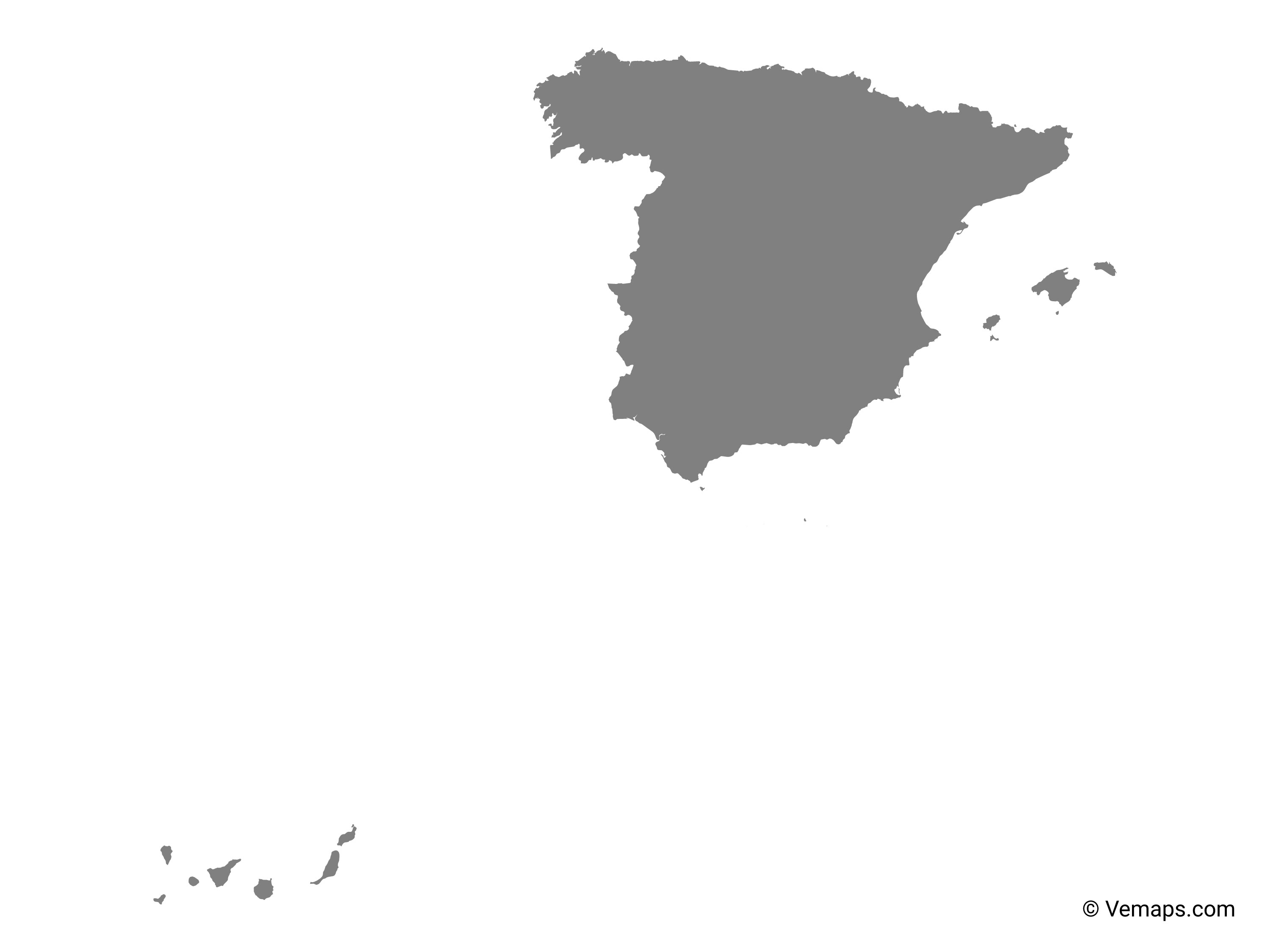 Grey Map Of Spain Free Vector Maps