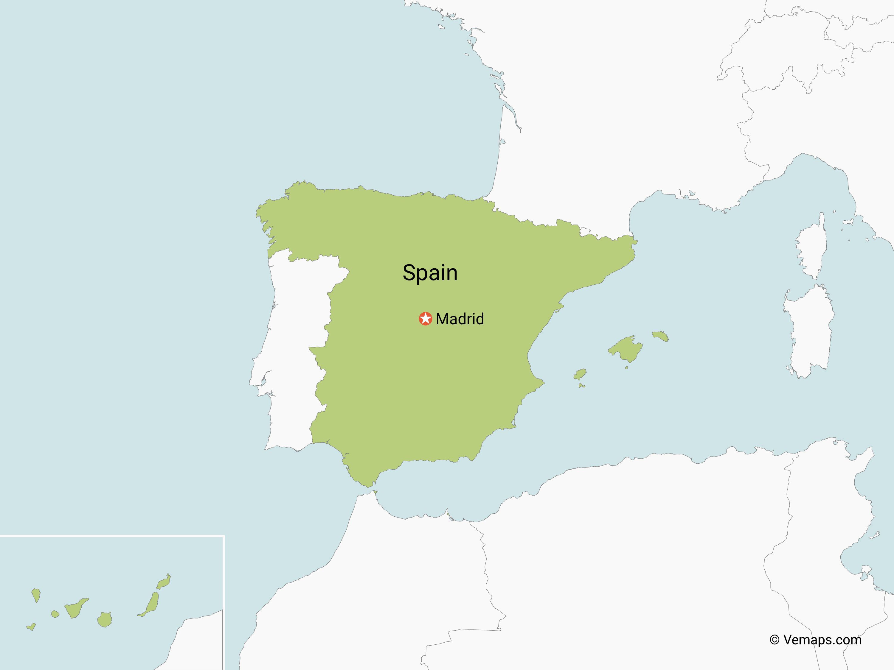 Map of Spain with Neighbouring Countries | Free Vector Maps