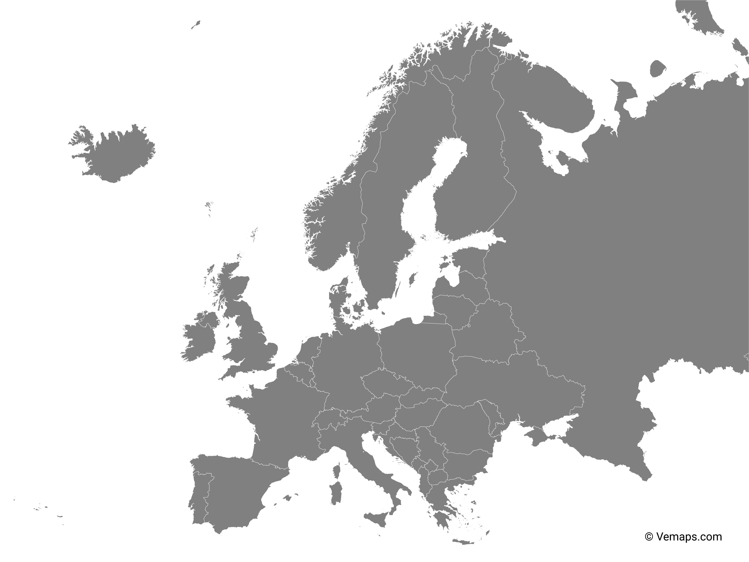 Picture of: Grey Map Of Europe With Countries Free Vector Maps