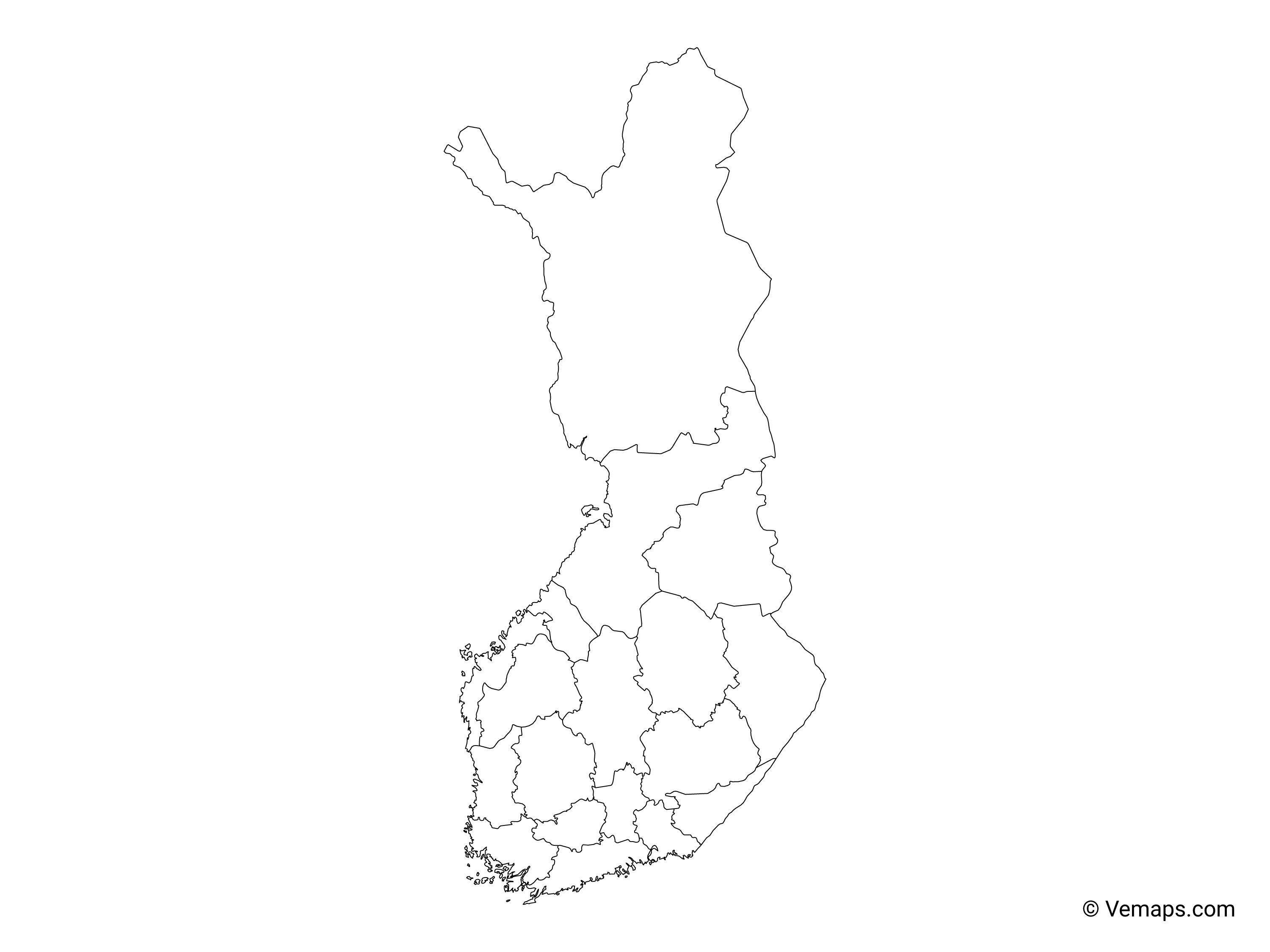Outline Map of Finland with Regions | Free Vector Maps
