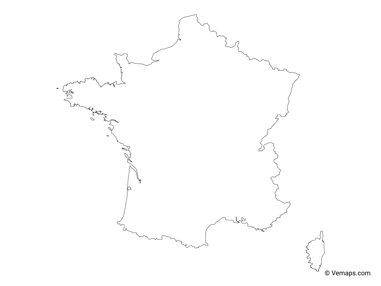 Outline Of Map Of France.Outline Map Of France Free Vector Maps