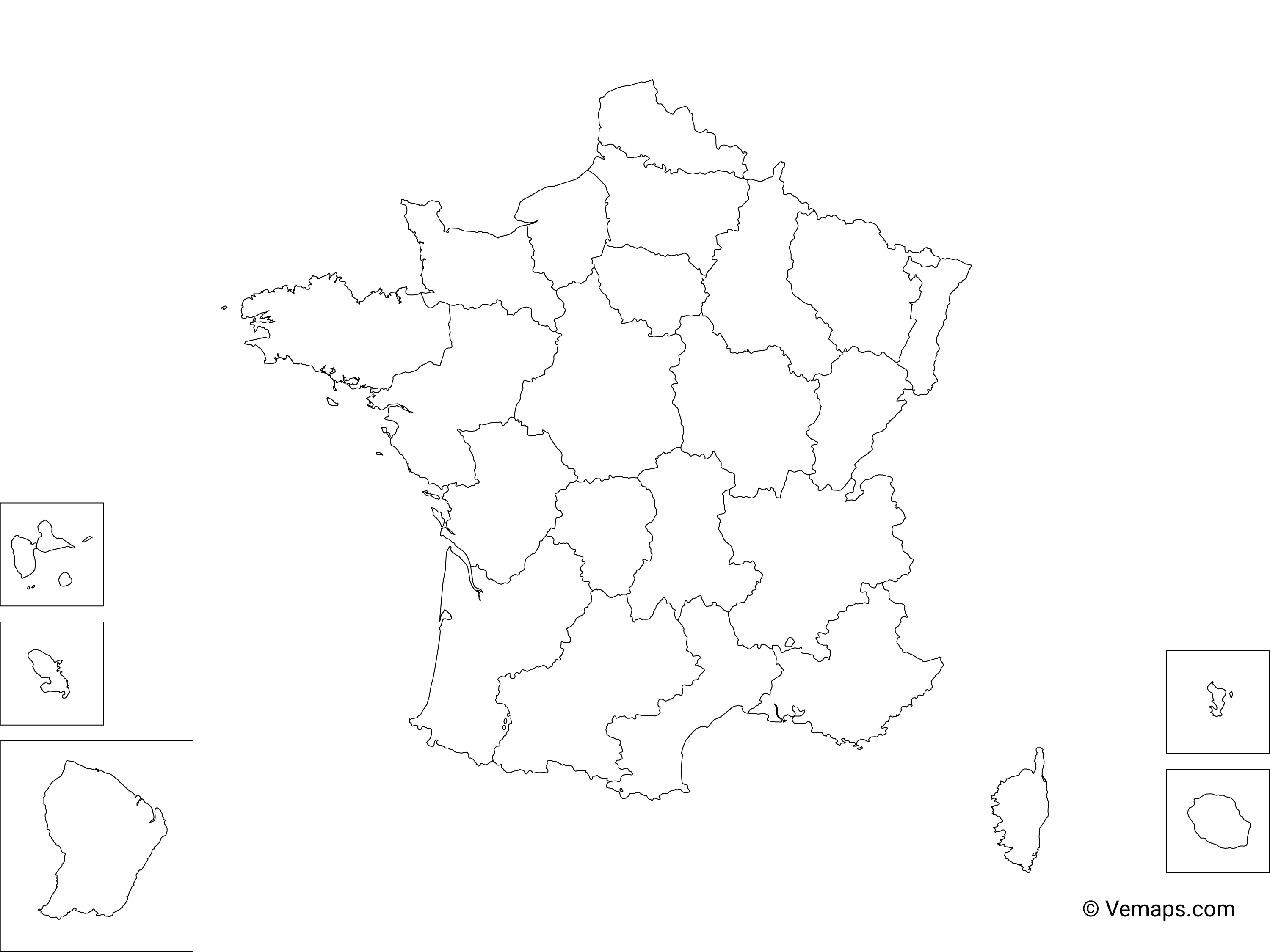 Picture of: Outline Map Of France With Regions Free Vector Maps