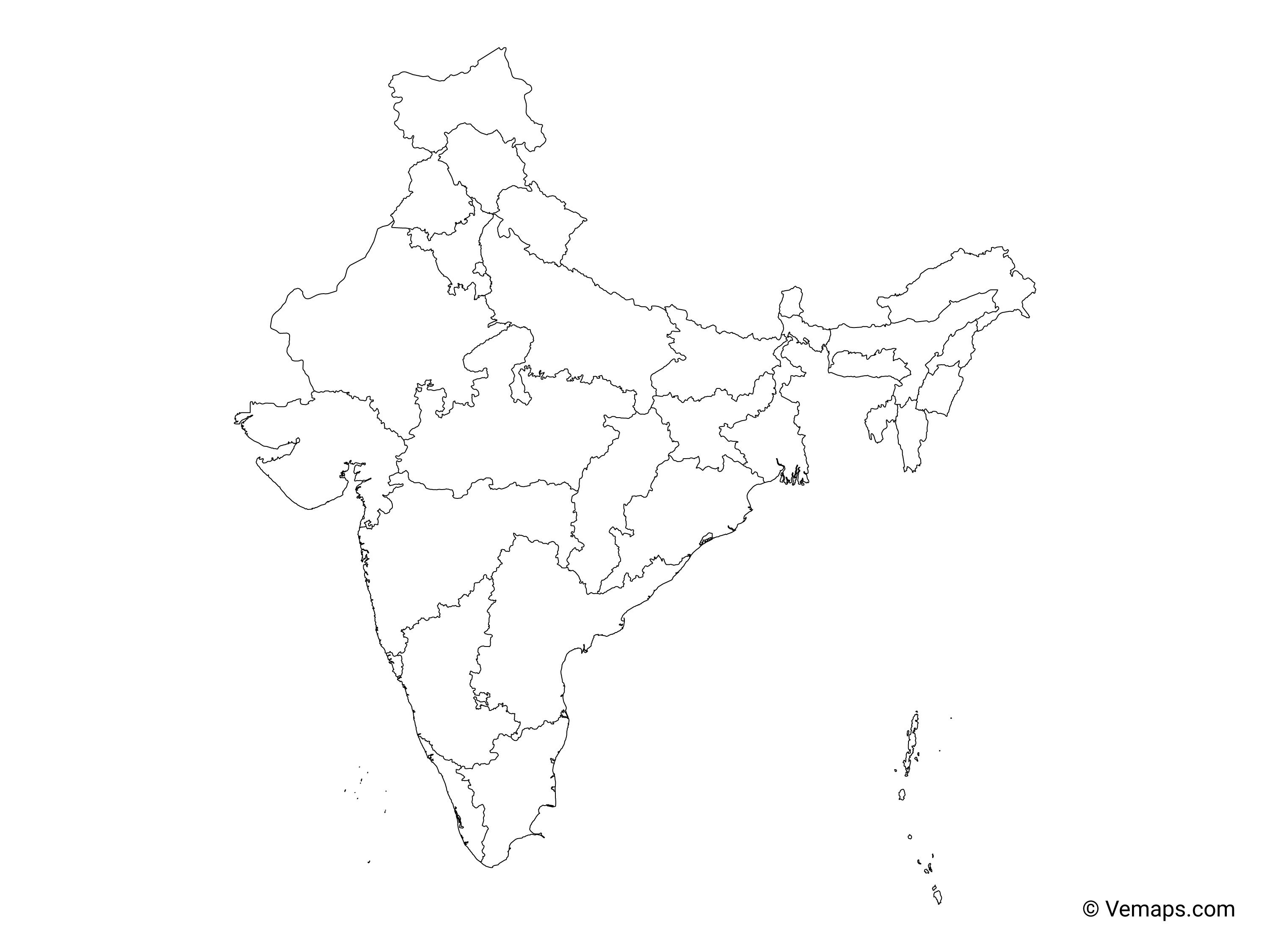 india map with states outline Outline Map Of India With States Free Vector Maps india map with states outline