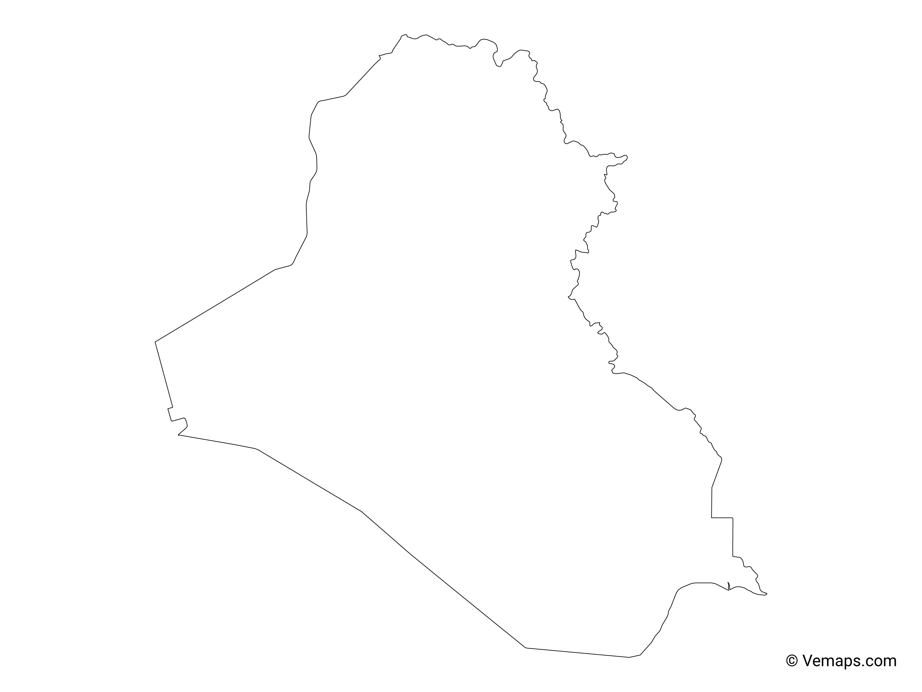 Outline Map of Iraq | Free Vector Maps