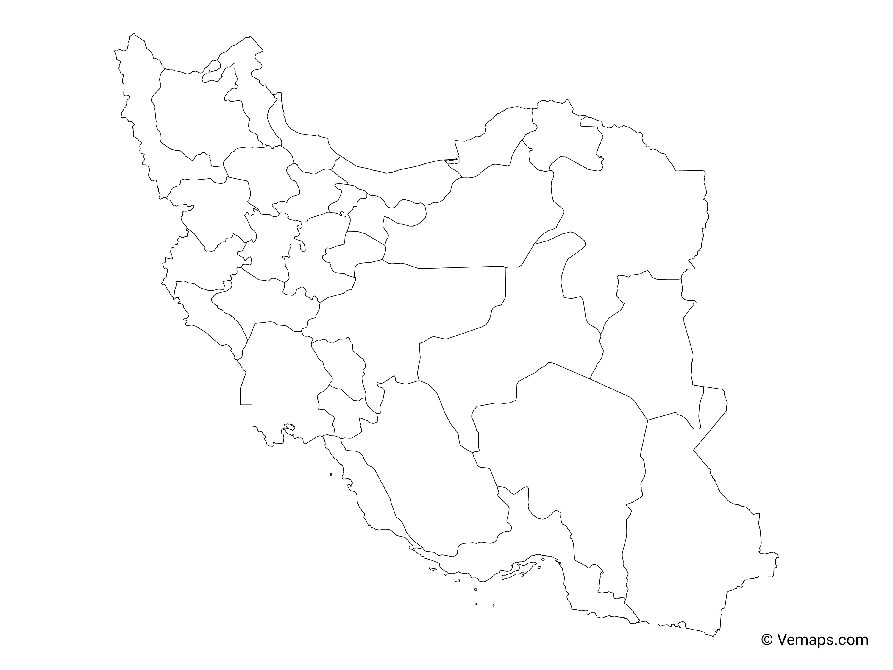 Picture of: Outline Map Of Iran With Provinces Free Vector Maps
