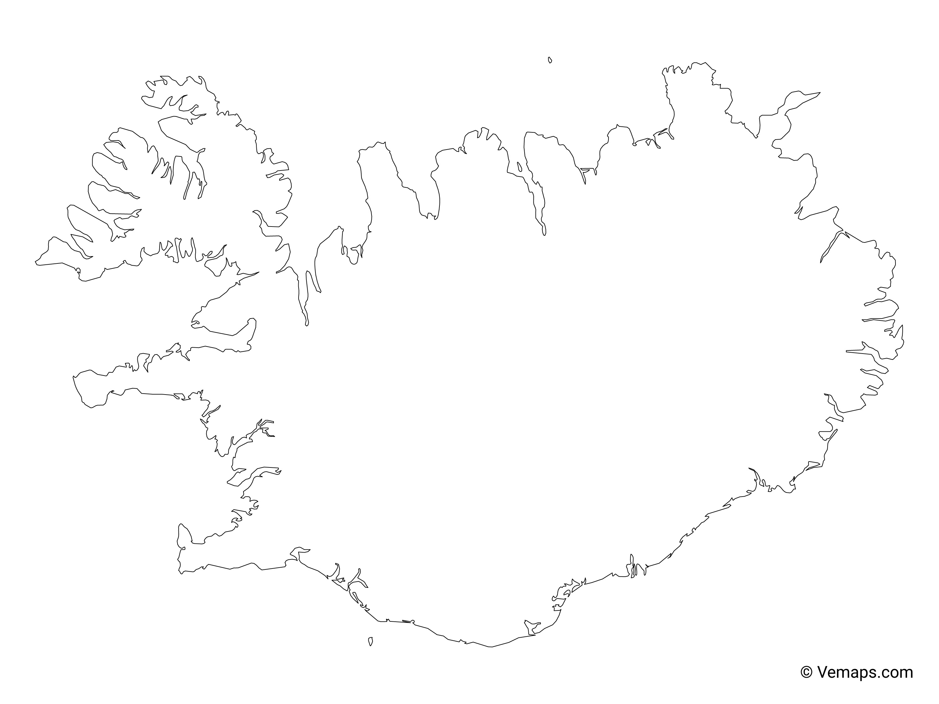 Image of: Outline Map Of Iceland Free Vector Maps