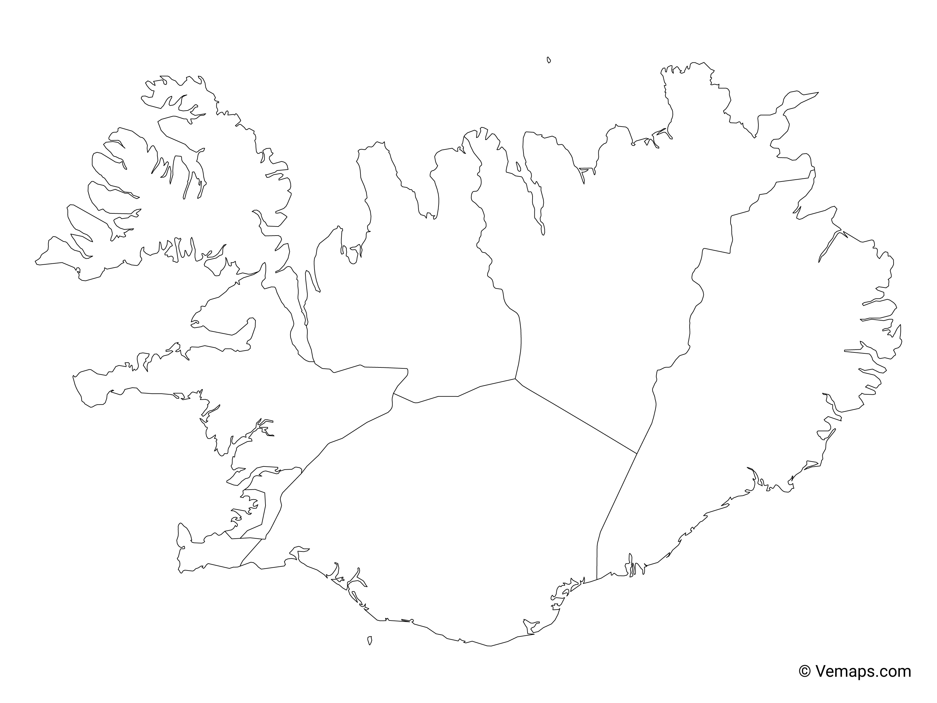 Outline Map of Iceland with Regions   Free Vector Maps