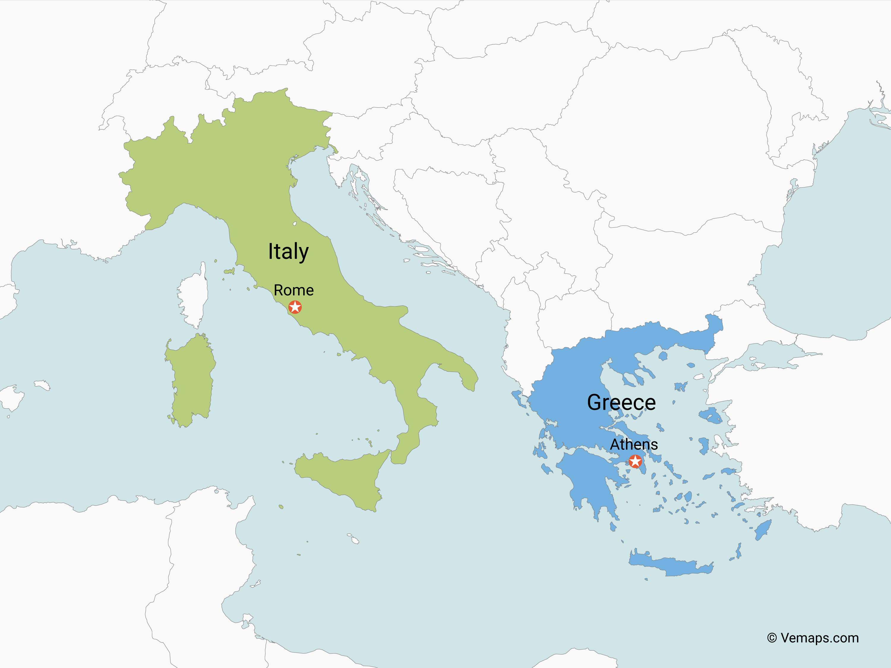 Map Of Italy Greece.Map Of Italy And Greece Free Vector Maps