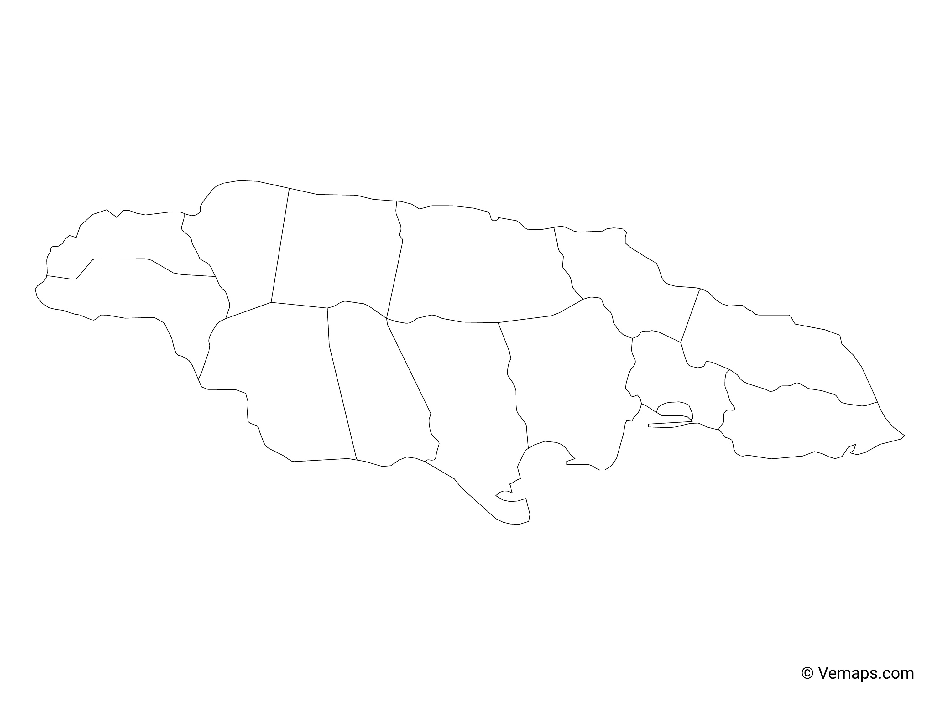 Outline Map of Jamaica with Parishes (no labels) | Free Vector Maps