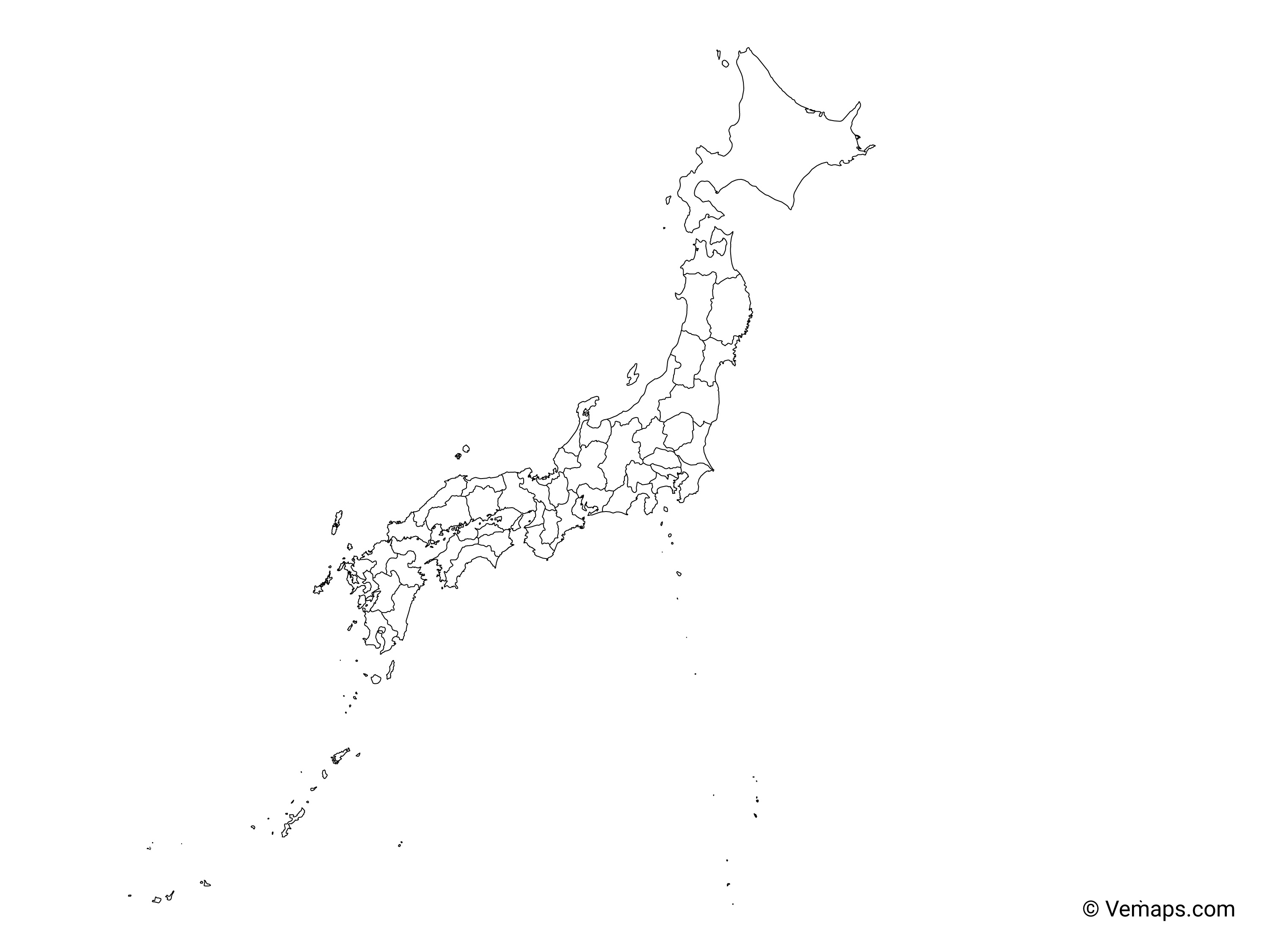 Picture of: Outline Map Of Japan With Prefectures Free Vector Maps