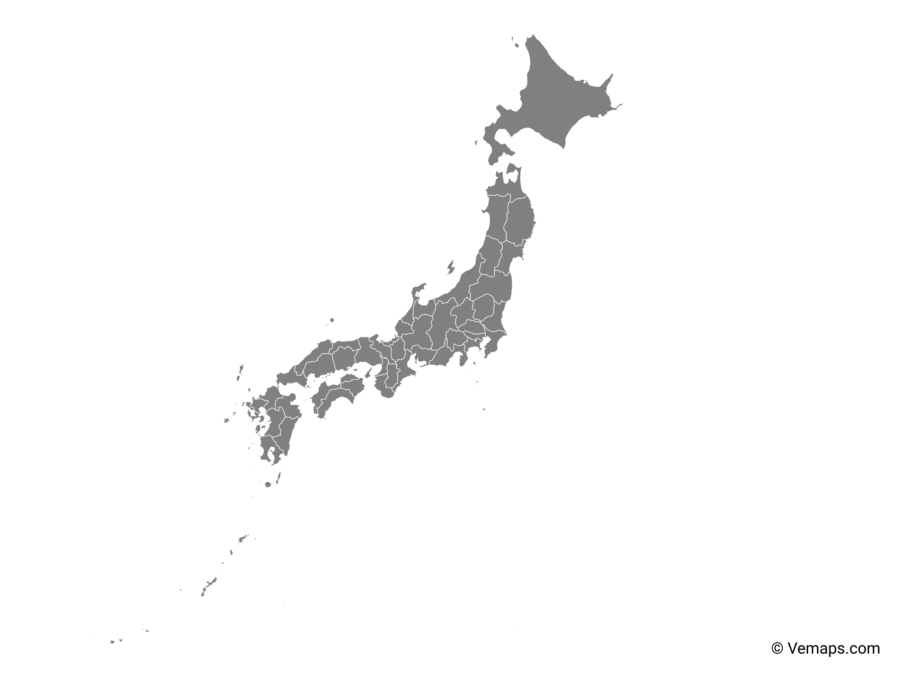 Picture of: Grey Map Of Japan With Prefectures Free Vector Maps