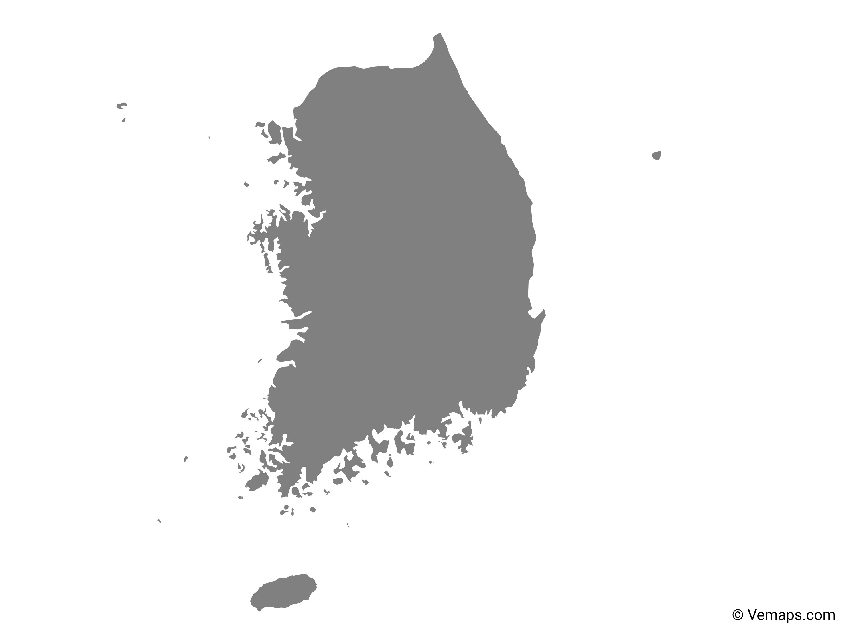 Grey Map of South Korea | Free Vector Maps